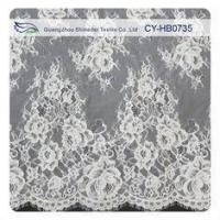 Quality Heavy Corded Eyelash Wedding Dress Lace Fabric , Eco-Friendly wholesale