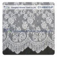 Chantilly Lace Fabric Eyelash Lace Trim For Womens Dress , White And Gray