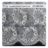 Quality Big Bridal Eyelash Chantilly Lace Trim / Scalloped Lace Fabric wholesale