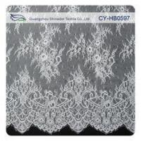 Quality Fashion Nylon Stretch Eyelash Ruffled Lace Trim / Embroidered Lace Fabric wholesale