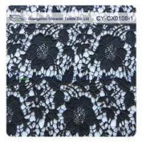 Quality White / Black Color Nylon Cotton Floral Dress Fabric , Embroidered Lace wholesale