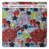 Quality Cotton Floral Embroidered Lace Fabric , Muti - Color Allover Fashion wholesale