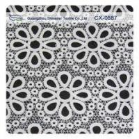 China White Embroidered Lace Fabric , Polyester repeated Floral Bud Silk Fabrics Garment on sale