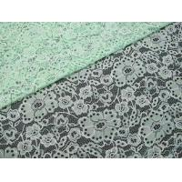 China Custom Durable Cotton Nylon Embroidered Lace Fabric Green Flower Pattern on sale