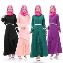 Cheap 11612 Lady Maxi Muslim Abaya Chiffon Long Sleeve Party Maxi Dresses for sale