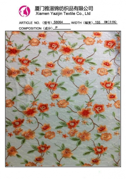 Cheap Chemical Lace Fabric Embroidery Lace Fabric (S8064) for sale