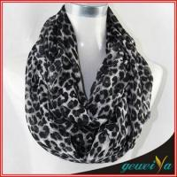Buy cheap Stock Black Leopard Printed Circle Loop Scarf from wholesalers