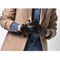 Customized Fashion Men's Short Leather Gloves With Belt Buckle Cuff Black Color
