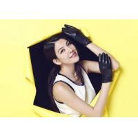 Quality Basic Short Ladies Leather Gloves With Leather Belt Cuff Black / Custom Color wholesale