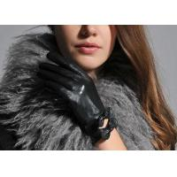 Quality Black Fashion Short Women Wearing Leather Gloves With Double Bowknot Cuff wholesale