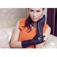 Quality Basic Mid Length Leather Gloves For Women With Embossed Sheep Leather Black / Blue / Wine wholesale