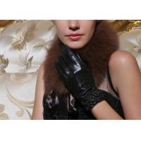 Quality Customized Women Black Leather Gloves Pink / Brown With Sheep Leather wholesale