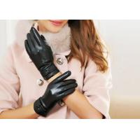 Quality Pink or Black Leather Gloves For Women , Sheep Leather Gloves with Double Belt Cuff wholesale