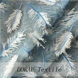 Cheap wonderful feather sequin 3-D embroidery lace fabric for sale