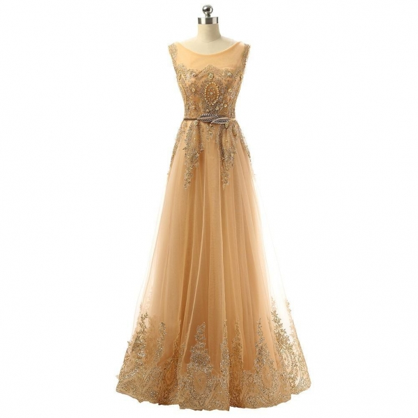 Cheap Hot Sell Evening Dresses 201512813711Gold Formal Party Evening Dresses for sale