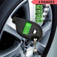 Quality keychain LCD tire pressure gauge with led light Portable Mini tyre guage wholesale