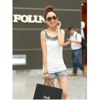 2014 Women summer clothing neckline embellish handmade Stunning beading cotton tank top women tee