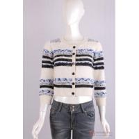 Quality C-002A Crew Neck Womens Structure Knit Cardigan, Autumn warm sweater in stripe pattern wholesale