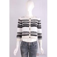 Quality C-002 Crew Neck Womens Structure Knit Cardigan, Autumn warm sweater in stripe pattern wholesale