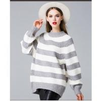 Buy cheap Oversized Women Gray-White Stripe Pullover Sweater from wholesalers