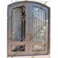 China China factory new design wrought iron double swing doors (glass window openable) on sale