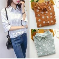Buy cheap Hot Sale !!! 2016 Women Daisy Flower Casual Button Down Collar Long Sleeve Shirt Floral Summer Blous from wholesalers