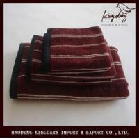 Dark red yarn dyed strip terry cotton towel set from China