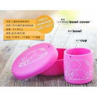 100% food grade silicone cartoon baby dish cup bowl