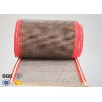Quality Brown PTFE Teflon Coated Fiberglass Mesh Fabric Conveyor Belt 4X4 mm wholesale