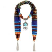 China Hot Selling National Style Fashion Squares Of Color Printing Voile Scarves Woven Pendant Necklace Ex on sale