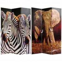 China 6 ft. Tall Elephant and Zebra Canvas Room Divider on sale
