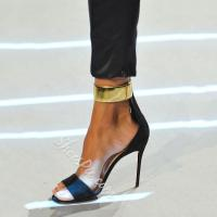 China Shoespie Sexy Black Metal Ankle Wrap Dress Sandals on sale