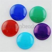 Buy cheap Painted Glass Cabochons, Flat Round, Mixed Color, 18mm, 5mm(...(X-DGLA-R026-18mm-M) from wholesalers