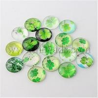 Quality Half Round/Dome Four Leaf Clover Glass Cabochons, Mixed Colo...(X-GGLA-A002-16mm-CC) wholesale
