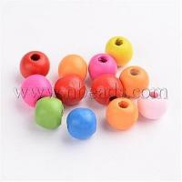 Quality Dyed Wood Beads, Round, Mixed Color, 10x9mm, Hole: 3mm(X-WOOD-R249-047) wholesale