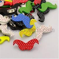 Quality Lovely Iron Back Bar Pin Polka Dot Printed Wood Mustache Bro...(X-JEWB-M003-M) wholesale