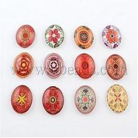 Quality Flower Pattern Glass Oval Flatback Cabochons for DIY Project...(X-GGLA-R022-18x13-42) wholesale