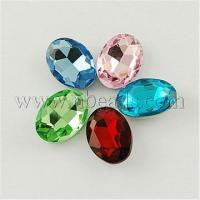 Quality Glass Pointed Back Rhinestone, Back Plated, Faceted, Oval, M...(X-RGLA-Q011-10x14mm-M) wholesale
