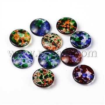 Cheap Transparent Spray Painted Glass Cabochons, Dome, Flat Round,...(X-DGLA-R020-16mm-M) for sale