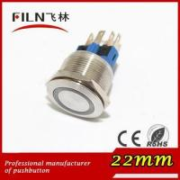 China 22mm stainless steel anti vandal Blue LED illuminated momentary push button switch on sale