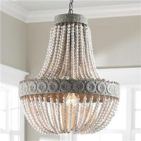 China Aged Wood Beaded Chandelier on sale