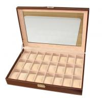 Quality 24 Slots Mens Watch Box PU Leather Watch Case Glass Top Watch Display Organizer wholesale