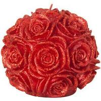 Quality Glitter Ball Pillar Candle - Red Rose wholesale