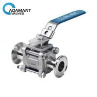 Quality Encapsulated Sanitary 3 Piece Ball Valve with ISO 5211 Mounting Pad, Manual Type wholesale
