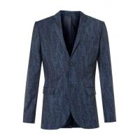 Quality Blue Wool Blend Abstract Print Skinny Fit Suit Jacket wholesale