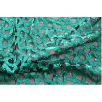 Quality Fancy Green Lace Fabric With Holo Sequin For Ladies' Fashion Clothing wholesale