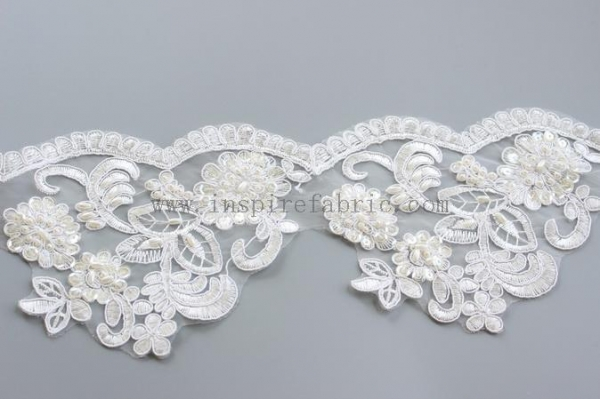 Cheap Beautiful Gorgeous Beautiful Bridal Bead Lace Organza Lace For Wedding Tulle Dress for sale