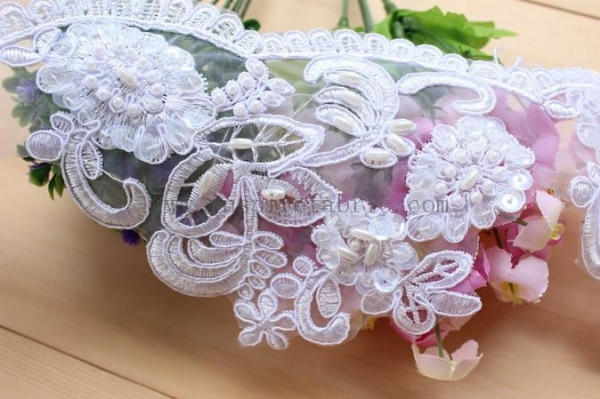 Cheap Lovely Lace Beaded Organza Lace Bridal Lace Wedding Lace For Wedding Dress for sale