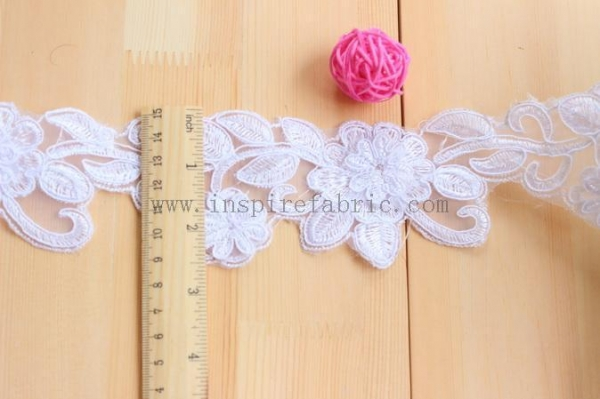 Cheap Embroidered Cording Lace Applique Bridal Lace White Wedding Lace for sale