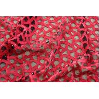 Quality Splendid Black Net With Red Tape Lace Fabric Beaded wholesale